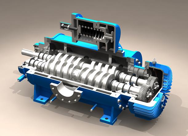 双螺杆泵剖面图